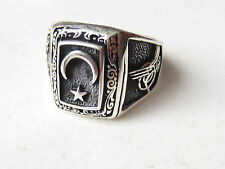 Turkish 925 Sterling Silver Ottoman Style Moon Star Handmade Mens Ring Size 10,5