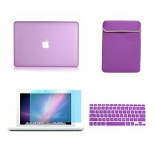 "4in1 Rubberized PURPLE Case for Macbook White 13"" +Keyboard Cover+LCD Screen+Bag"