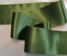 """2"""" WIDE SWISS DOUBLE FACE SATIN RIBBON - MOSS GREEN - BY THE YARD"""