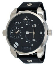 Black Silver Omax Big Daddy Fashion Large Watch Round 3 Time Zone Mens Oversized