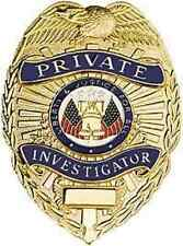 NEW Private Investigator Shield Badge Gold GOLD FINISH FREE SHIPPING