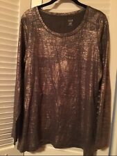 Woman's Oragano Rose Gold Foil Long Sleeve Tunic Top   by a.n.a   Size PM  NEW