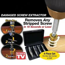 4pc Screw Extractor Drill Bits Guide Set Broken Damaged Bolt Remover Speed Out E