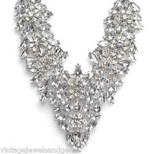 ART DECO CRYSTAL RHINESTONE Silver Floral Choker Collar Bib Statement Necklace
