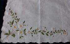 "Vintage Antique Hand Embroidered Linen Table Mat c1930s~ 12""L X 17""W~Daisies"