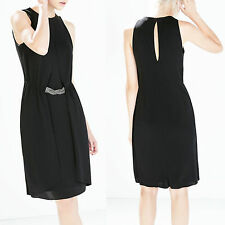 ZARA Black Jersey Dress With Applique At The Waist size S Formal Casual Work