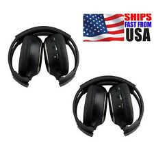 Pair 2-Channel Infrared Wireless Headphones For Car Pillow Headrest DVD Pla