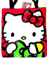 Hello Kitty Canvas Tote Bag Hugging Ribbon Bow Lime Green Hot Pink 14.5in 13.5in