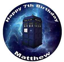 "Doctor Dr Who Tardis Personalised Cake Topper 7.5"" Edible Wafer Paper"