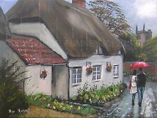 PETE RUMNEY FINE ART BUY ORIGINAL ACRYLIC ENGLISH COUNTRYSIDE VILLAGE COUPLE