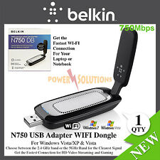 Belkin Wireless N750 USB Adapter WIFI Dongle 750Mbps Dual-Band