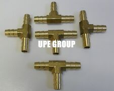 (5 Pieces) 5/16  HOSE BARB TEE Brass Pipe 3 WAY T Fitting Gas Fuel Water AIR
