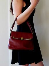 Vintage & Unique Designer ETIENNE AIGNER Genuine Leather Hand Bag in Burgundy