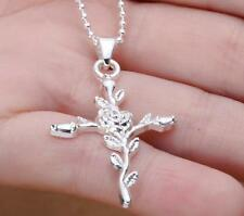 Hot NF Plated 925 Silver Ross Cross Charm Pendant Necklace