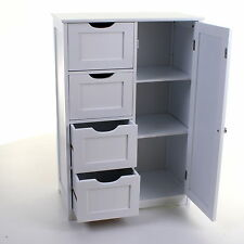 4 DRAWER CABINET BATHROOM STORAGE UNIT CHEST CUPBOARD WHITE STYLISH MODERN DRAW