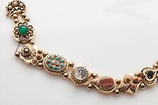 Vintage 12ct Gem Coral Opal CAMEO Diamond 14k Gold Signed Slide Charm Bracelet