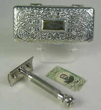 Gillette Pocket Edition Empire Design Safety Razor Set Metal Case Blade