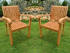 QTY 2 STACKING ARM CHAIR - A GRADE TEAK GARDEN OUTDOOR DINING PATIO SET NAPA NEW