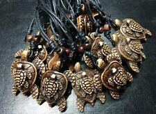 12 pcs Imitation Bone Resin Double Tortoise Turtle Charms Surfer Necklace