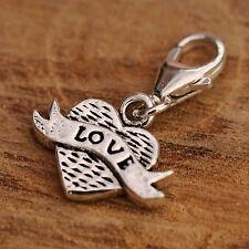En Argent Sterling 925 Wings Pendentif Coeur Amour Bracelet Clip De Charme Sur w