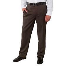 NWT! $98 KIRKLAND ITALIAN WOOL FLAT FRONT DRESS PANTS- DARK BROWN- 32X30