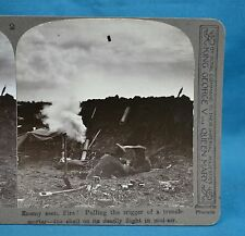 WW1 Stereoview Enemy Seen Fire Trench Mortar Shell In Mid Air Realistic Travels