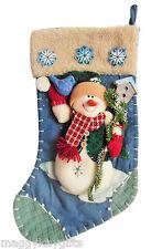 SNOWMAN Christmas Stocking - Blue - Fabric - Three-Dimensional - Decoration
