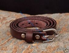 3mm Thick Triple Wrap Quality Real Genuine Leather Bracelet Wristband Cuff Brown