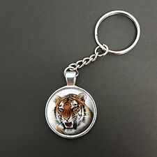 Tiger Pendant On A Split Ring Keyring Ideal Birthday Gift N33