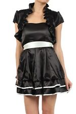 Black Satin Ruffled Bolero Jacket  Short Sleeve  Wedding/Bridal *Small*new