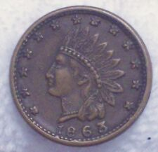 "1863 Indian Head CIVIL WAR TOKEN *RARE* AU+ Detailing ""FLAGS AND CANNONS"" Coin"