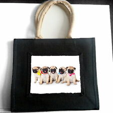 FAWN PUG PUPPIES JUTE SHOPPING BAG PET DOG LOVER BREED PHOTO GIFT