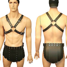 Men's PU Leather Gay UnderwearBuckles Chest Harness Short Restraint Club Costume
