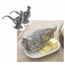 Mud Pie Pheasant Fall Autumn Thanksgiving Butter Dish Salt Pepper Shaker Set