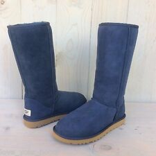 UGG CLASSIC TALL NAVY SUEDE SHEARLING WOMENS BOOT  US 8 UK 6.5 EU 39 NIB