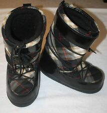 Burberry Plaid Black Patent Leather Snow Boots Ski Moon Boots AUTHENTIC Sz 10/11