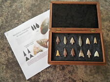 12 x Quality Neolithic Arrowheads in Antique / Wooden Box - 4000BC (0128)