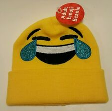 Yellow Emoji Beanie Cap Hat NEW Joy Laughing Tears Smile Emoticon Text Messaging