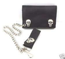 Leather Trifold Biker Wallet Black with Chain Trucker Skull Snaps USA Made NWT