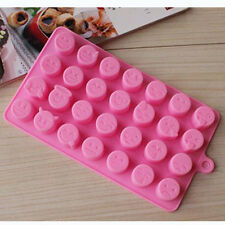 Pink Silicone 28- Emoji Expression Mold For Cake Chocolates Pastry Candy Baking