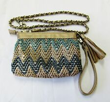 BIG BUDDHA CHEVRON CONVERTIBLE CLUTCH BRONZE METALLIC TEAL SILVER TASSEL FRINGE