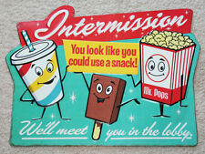 DRIVE IN MOVIE pop corn Intermission Theater Cinema Vintage Style Signs coke tv