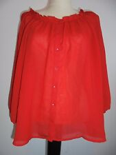H & M Red Textured Polyester? 3/4 Sleeve Button  BOHO Tunic Top Sz 12
