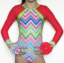 Girls Gymnastics Multi-Coloured long sleeves Leotard size 28  age 8-9