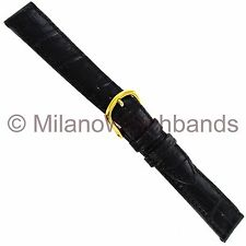 16mm deBeer Black Hand Made Genuine Antique Leather Alligator Grain Watch Band