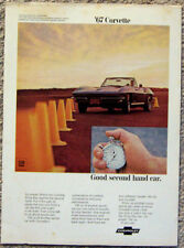 MAGAZINE ADVERTISEMENT ~ 1967 CORVETTE ~ GOOD SECOND HAND CAR