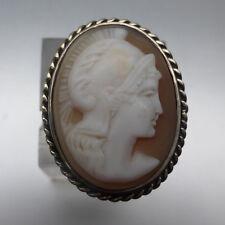 Seltener Ring mit grosser Camee, Muschel- Gemme, Silber, antik, antique cameo