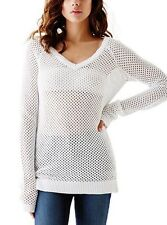 Women GUESS VALENCIA MESH OPEN STITCH KNIT SWEATER white - size S