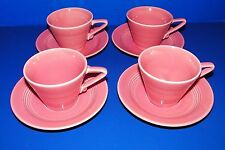 Homer Laughlin 1979 Harlequin 4 Coral Rose Pink Coffee Tea Cups w 3 Saucers
