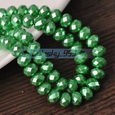 50pcs 8mm Rondelle Faceted Charms Pearl Glass Loose Spacer Beads Green